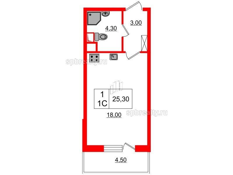 Планировка Студия площадью 25.3 кв.м в ЖК «Семь столиц»
