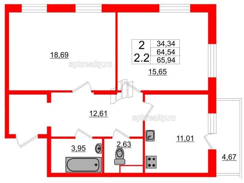 Планировка Двухкомнатная квартира площадью 63.5 кв.м в ЖК «Семь столиц»