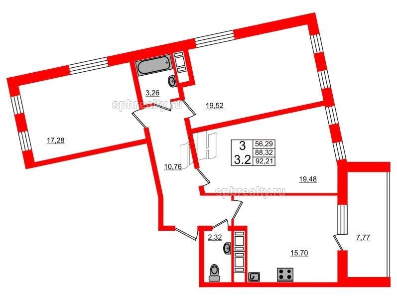 Планировка Трёхкомнатная квартира площадью 88.3 кв.м в ЖК «Семь столиц»