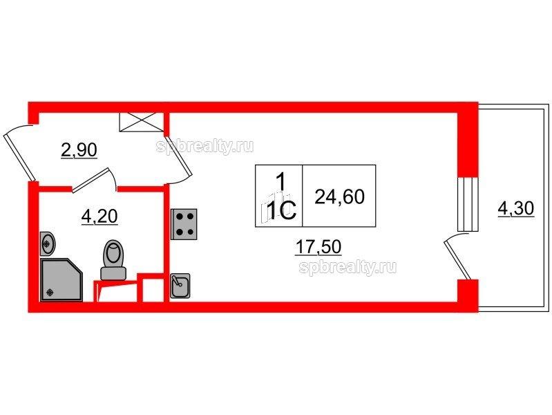 Планировка Студия площадью 24.6 кв.м в ЖК «Семь столиц»