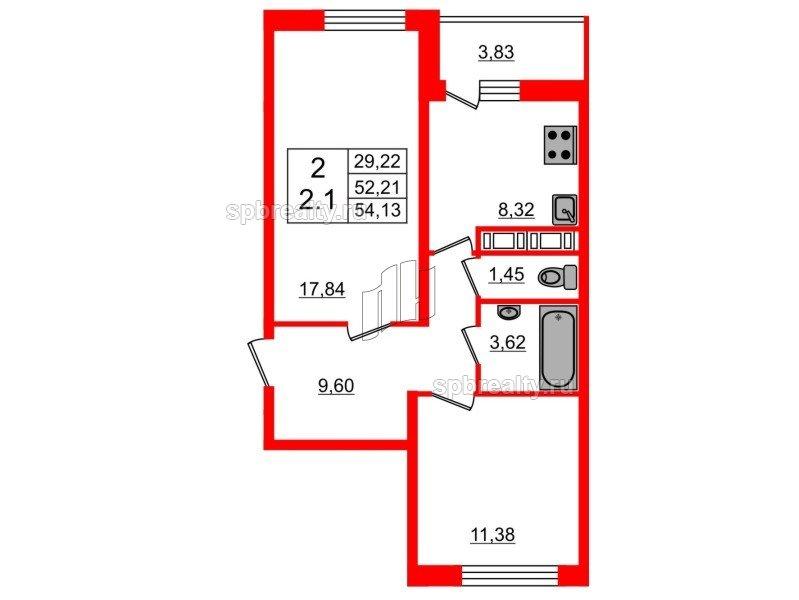 Планировка Двухкомнатная квартира площадью 51.4 кв.м в ЖК «Семь столиц»