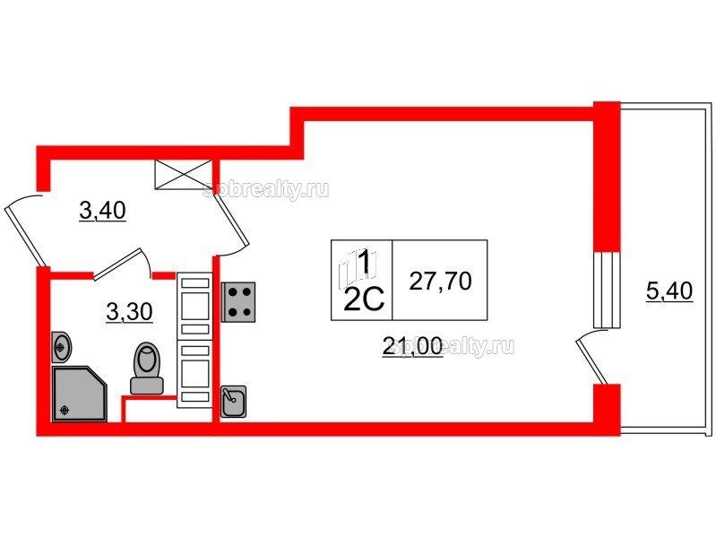 Планировка Студия площадью 27.7 кв.м в ЖК «Семь столиц»