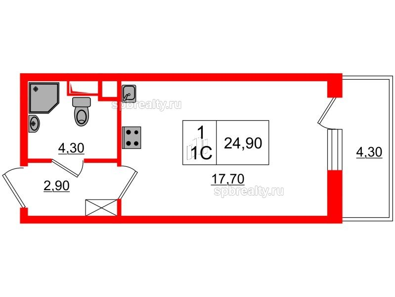 Планировка Студия площадью 24.9 кв.м в ЖК «Семь столиц»