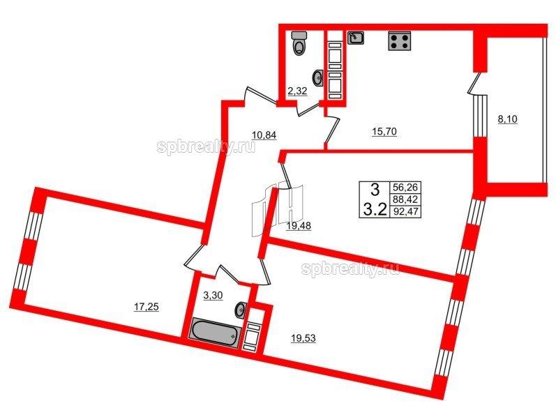 Планировка Трёхкомнатная квартира площадью 88.5 кв.м в ЖК «Семь столиц»