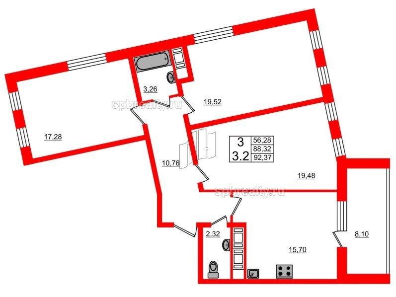 Планировка Трёхкомнатная квартира площадью 88.2 кв.м в ЖК «Семь столиц»