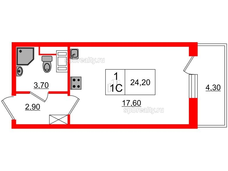 Планировка Студия площадью 24.2 кв.м в ЖК «Семь столиц»