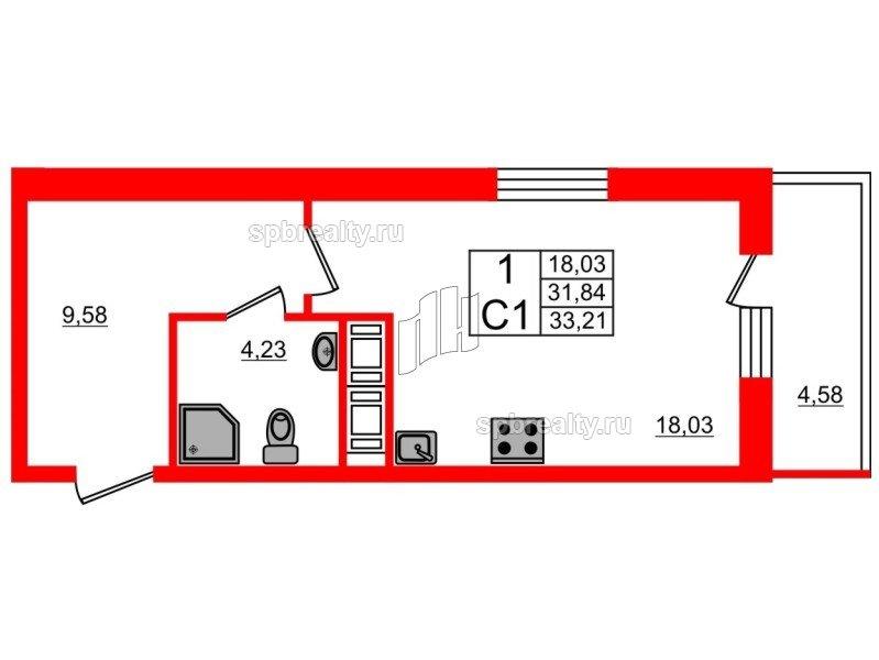 Планировка Студия площадью 31.3 кв.м в ЖК «Семь столиц»
