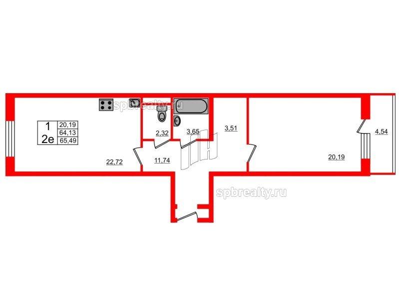 Планировка Однокомнатная квартира площадью 63.6 кв.м в ЖК «Семь столиц»