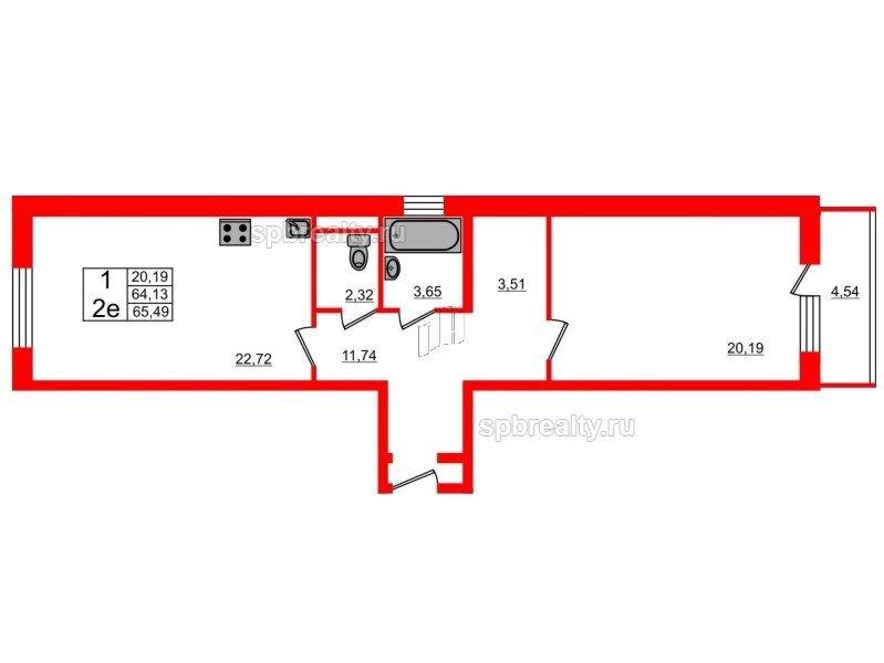 Планировка Однокомнатная квартира площадью 62.9 кв.м в ЖК «Семь столиц»
