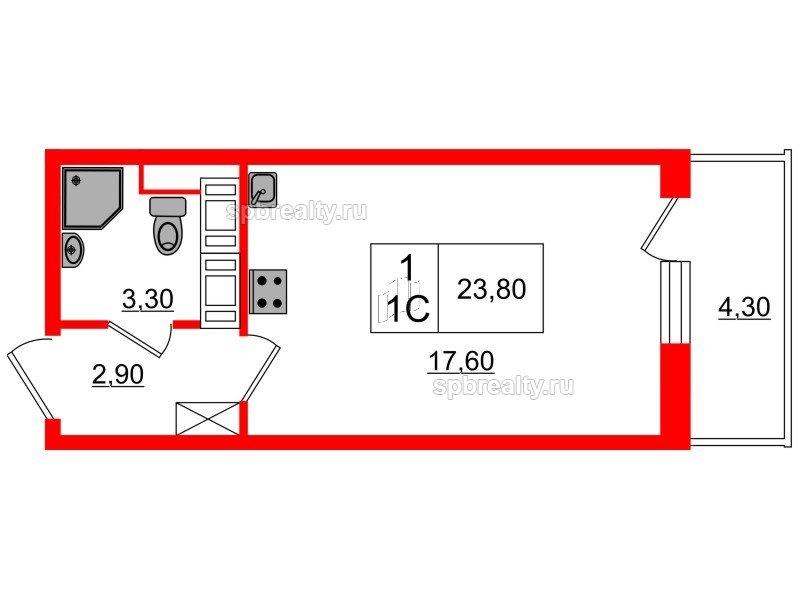 Планировка Студия площадью 23.8 кв.м в ЖК «Семь столиц»