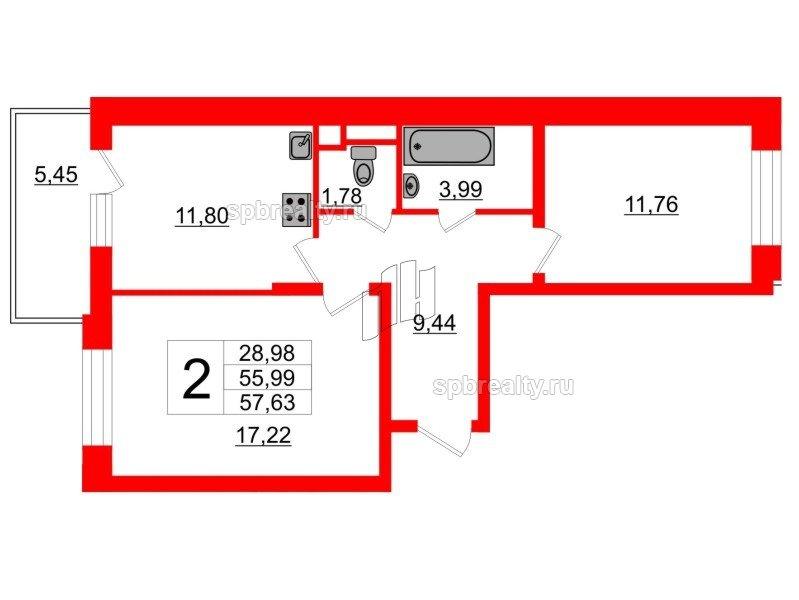 Планировка Двухкомнатная квартира площадью 55.8 кв.м в ЖК «Семь столиц»