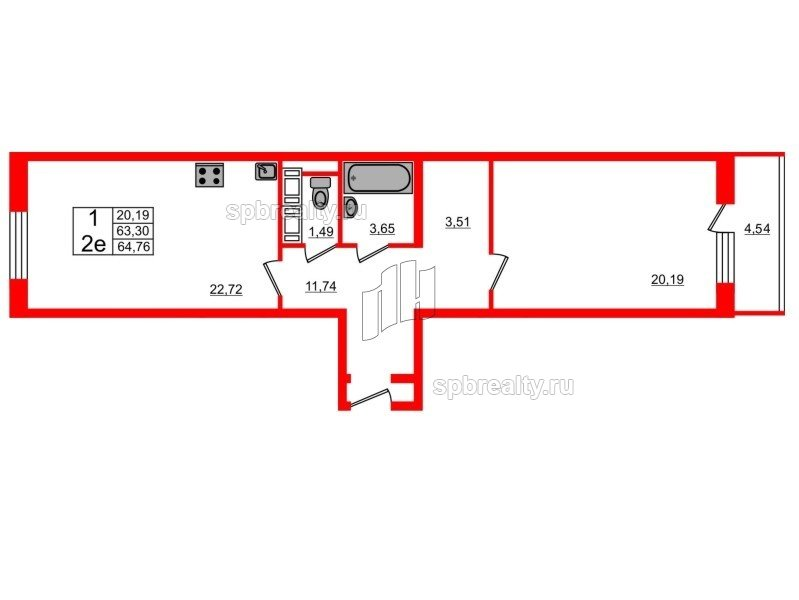 Планировка Однокомнатная квартира площадью 62.3 кв.м в ЖК «Семь столиц»